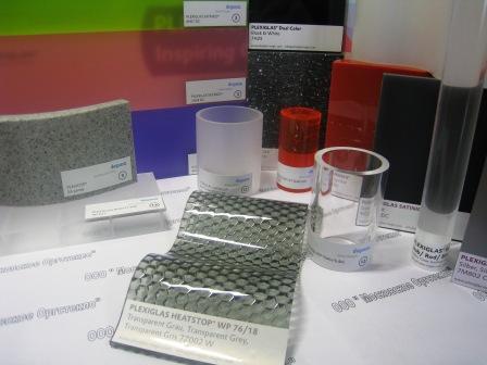 Оргстекло марки Plexiglas® XT - экструзионное, Plexiglas® GS - литьевое производства Evonik Industries AG (Германия).